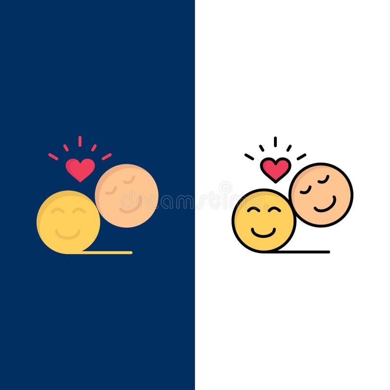 Couples, avatar, Smiley Faces, Emojis, Valentine Icons L'appartement et la ligne icône remplie ont placé le fond bleu de vecteur illustration stock