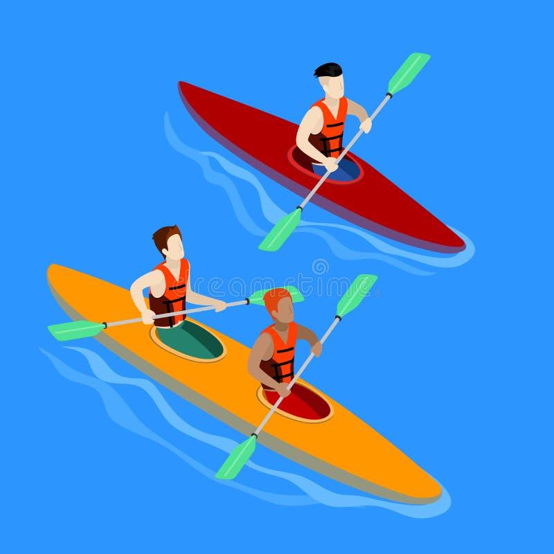 Couples barbotant dans le kayak Isométrique d'isolement par kayak illustration de vecteur