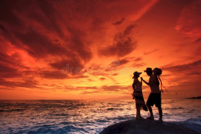 Couples on the Beach royalty free stock photos