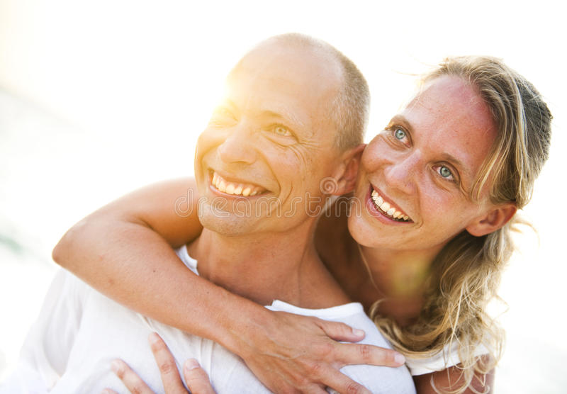 A couples on the beach.  stock photo