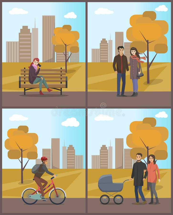 Couples and Biker Woman with Phone Set Vector. Couples and biker woman with phone in hand talking with someone set vector. Autumn park and people walking stock illustration