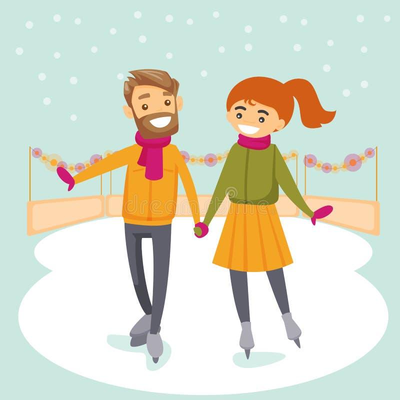 Couples blancs caucasiens patinant sur la patinoire extérieure illustration de vecteur