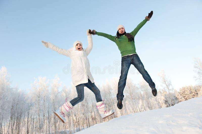 Couples branchant sur un fond neigeux image stock