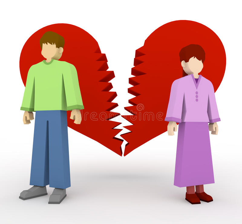 Couples break up vector illustration