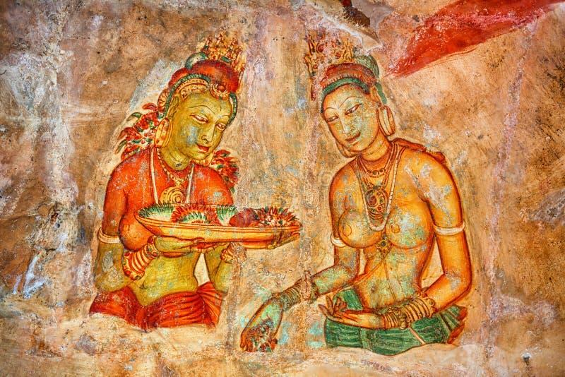 Couples chauds Fresque antique sur la roche Sigiriya, Polonnaruwa, La de Sri photo stock