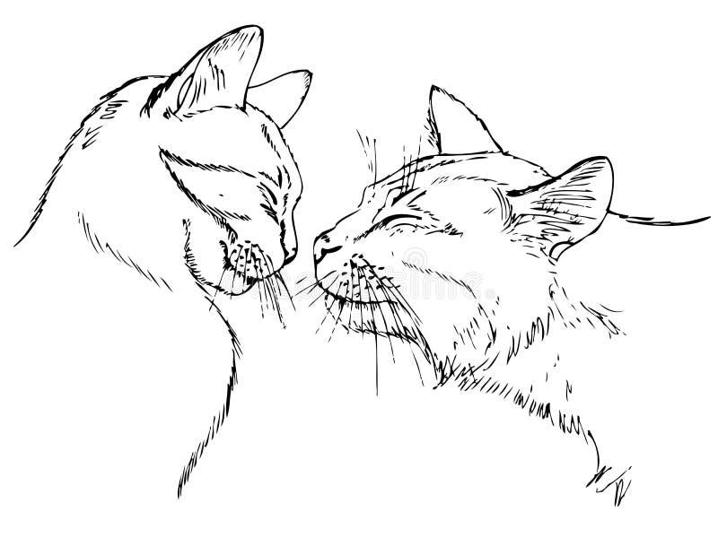 Couples chez des chats d'amour illustration stock