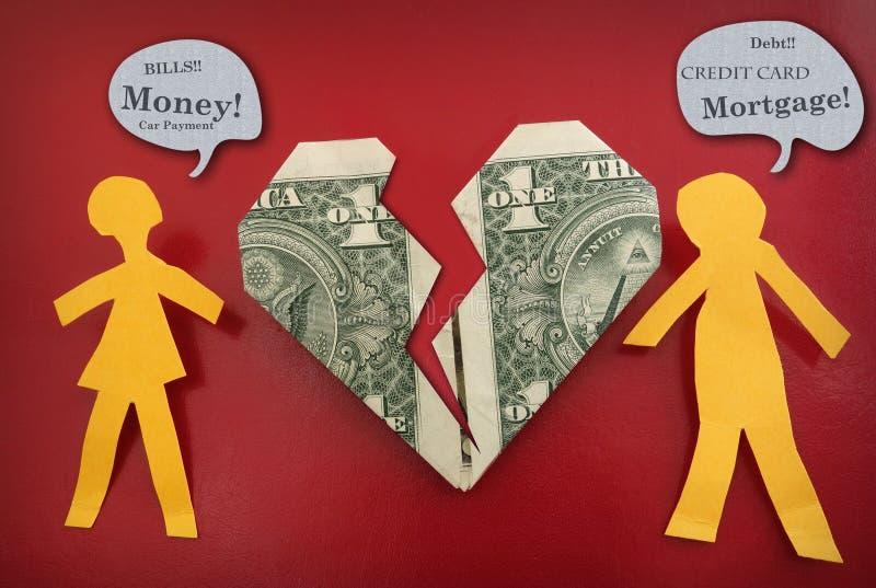 Couples combattant au sujet de l'argent photos libres de droits