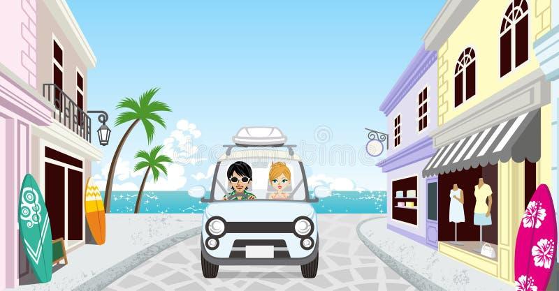 Couples conduisant dans la ville de bord de la mer illustration libre de droits