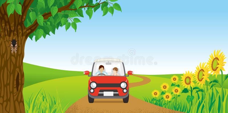 Couples conduisant en nature d'été illustration libre de droits