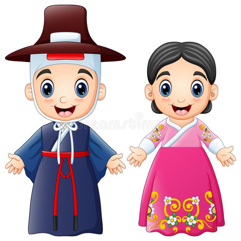Couples coréens de bande dessinée utilisant les costumes traditionnels illustration de vecteur