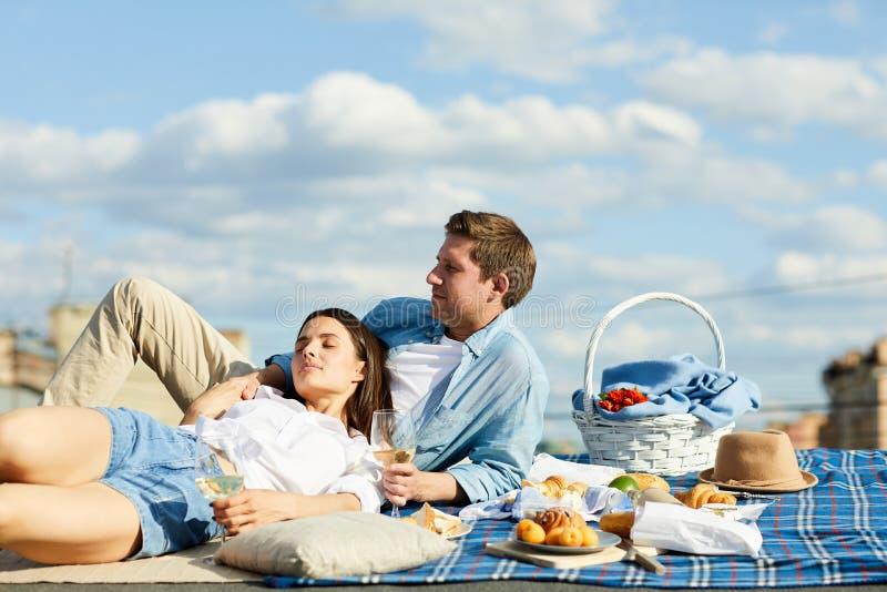 Couples décontractés au pique-nique de toit image libre de droits