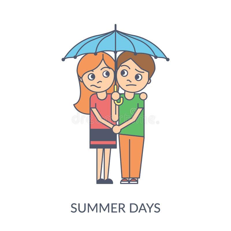 Couples d'été Illustration plate de vecteur de bande dessinée de jeune fille et de garçon se tenant sous le parapluie illustration libre de droits