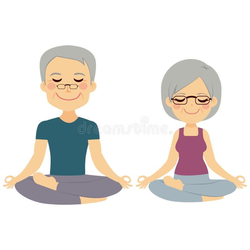 Couples d'aîné de yoga illustration libre de droits