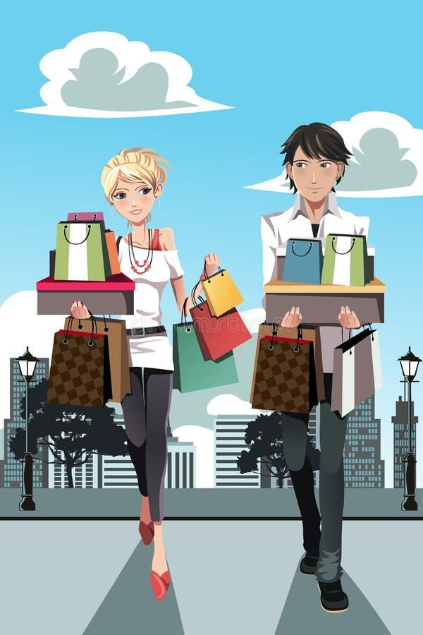 Couples d'achats illustration libre de droits