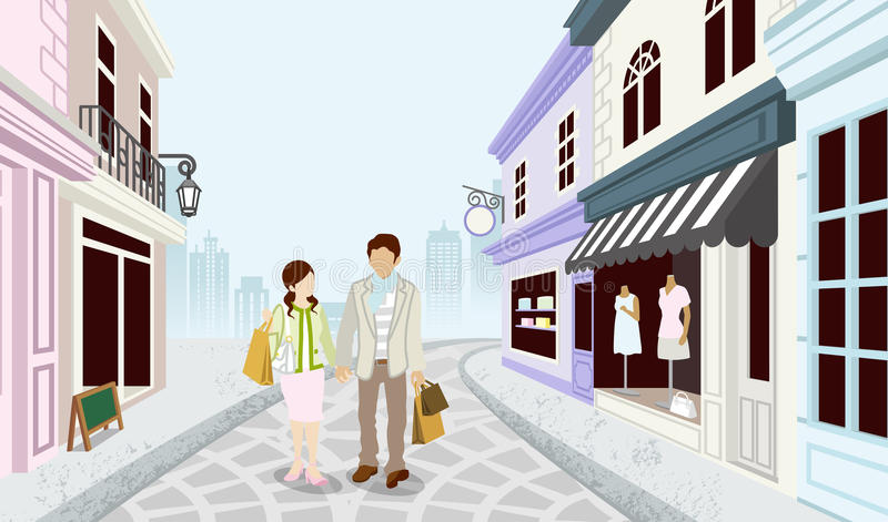 Couples d'achats dans l'old-fashioned town-EPS10 illustration stock