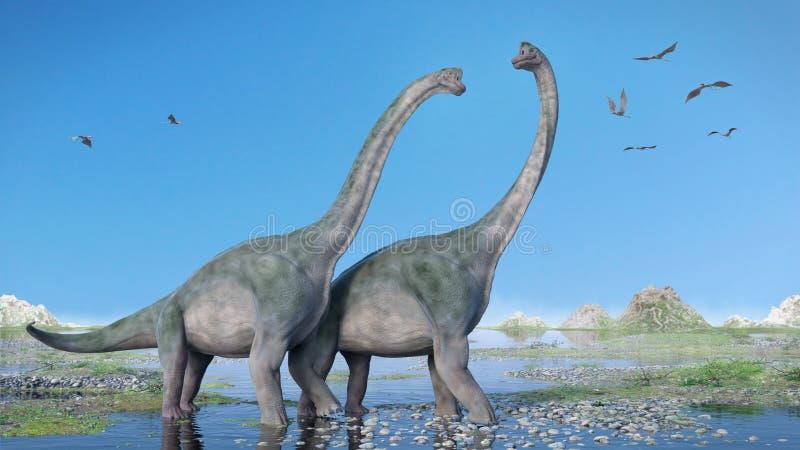 Couples d'altithorax de Brachiosaurus et un troupeau de Pterosaurs dans une illustration jurassique en retard scénique du paysage illustration libre de droits