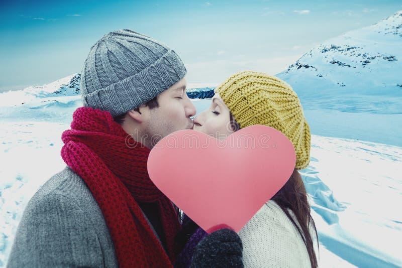 Couples d'amour de neige photo libre de droits