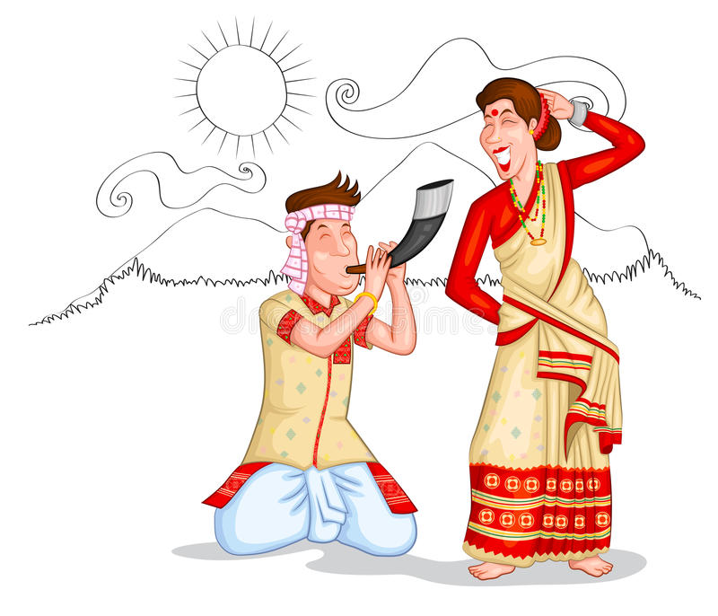 Couples d'Assamese de danse illustration stock