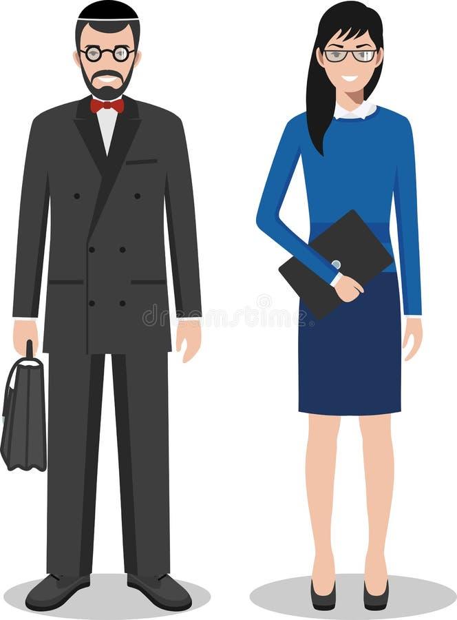 Couples d'homme d'affaires juif et d'homme d'affaires se tenant ensemble sur le fond blanc dans le style plat Équipe d'affaires e illustration de vecteur