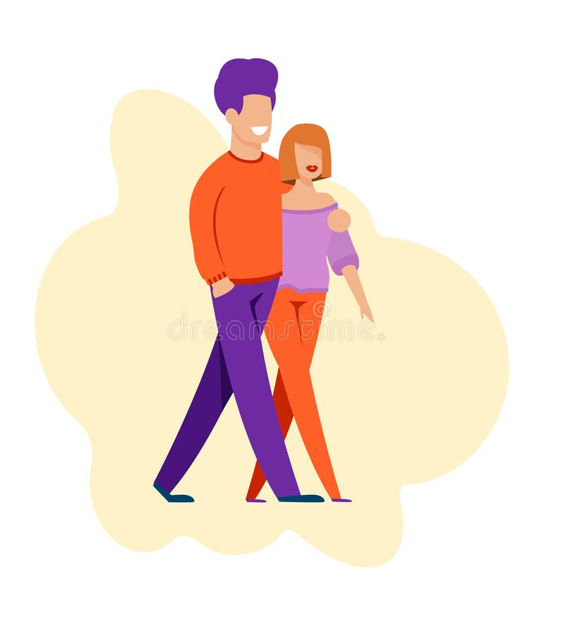 Couples d'homme et de femme marchant pendant la date romantique illustration libre de droits