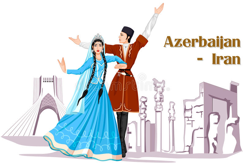 Couples d'Irani exécutant la danse de l'Azerbaïdjan de l'Iran illustration libre de droits