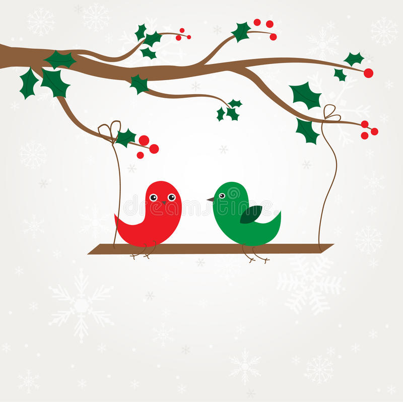 Couples d'oiseaux d'amour sous l'arbre illustration stock