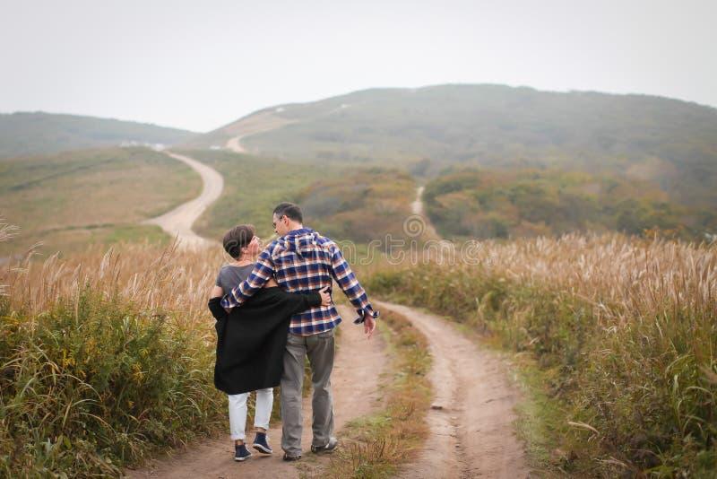 Couples d'une cinquantaine d'années attrayants affectueux marchant loin sur la route photo libre de droits