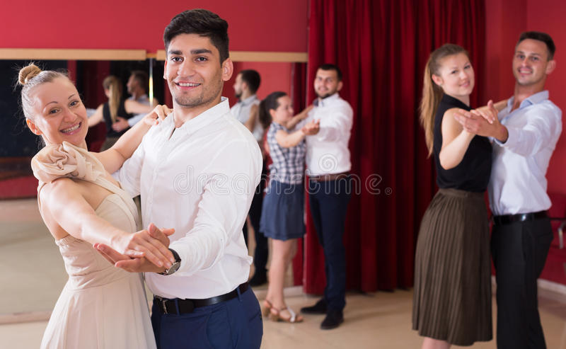 Couples dancing foxtrot stock images