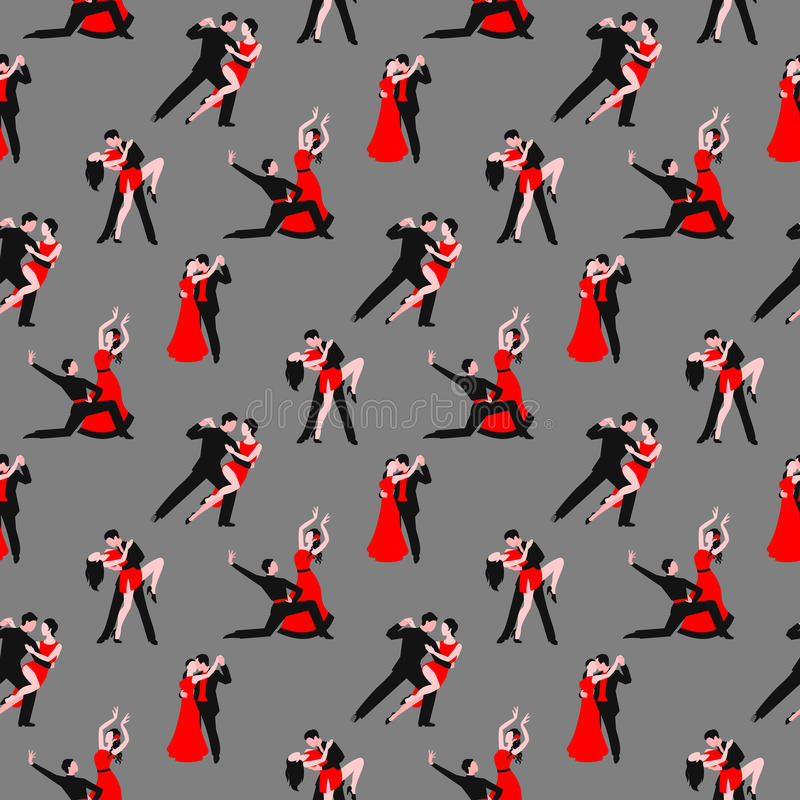 Couples dancing tango latin american romantic boy and girl couples seamless pattern vector illustration