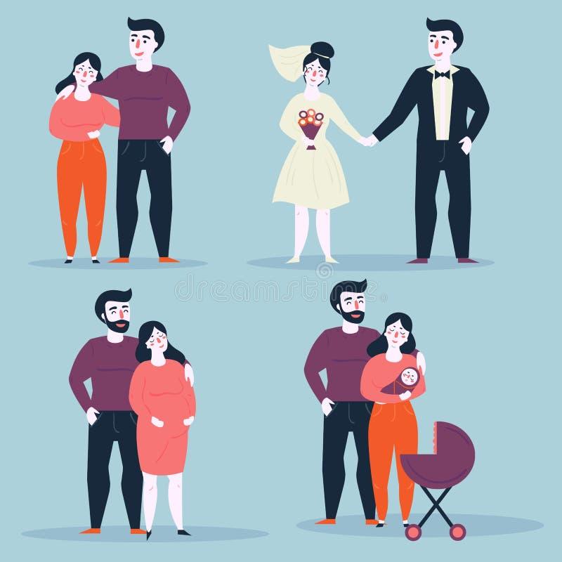 Couples dans diverses situations des relations illustration de vecteur