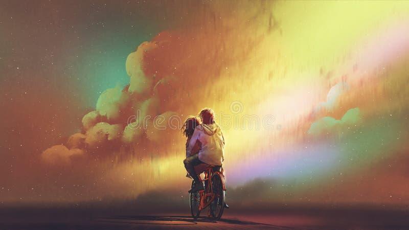 Couples dans l'équitation d'amour sur la bicyclette illustration stock