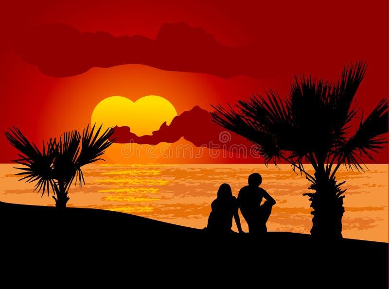 Couples dans l'amour illustration de vecteur