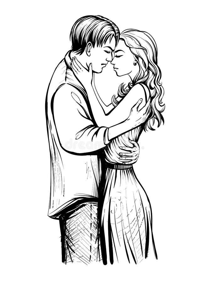 Couples dans l'amour illustration libre de droits