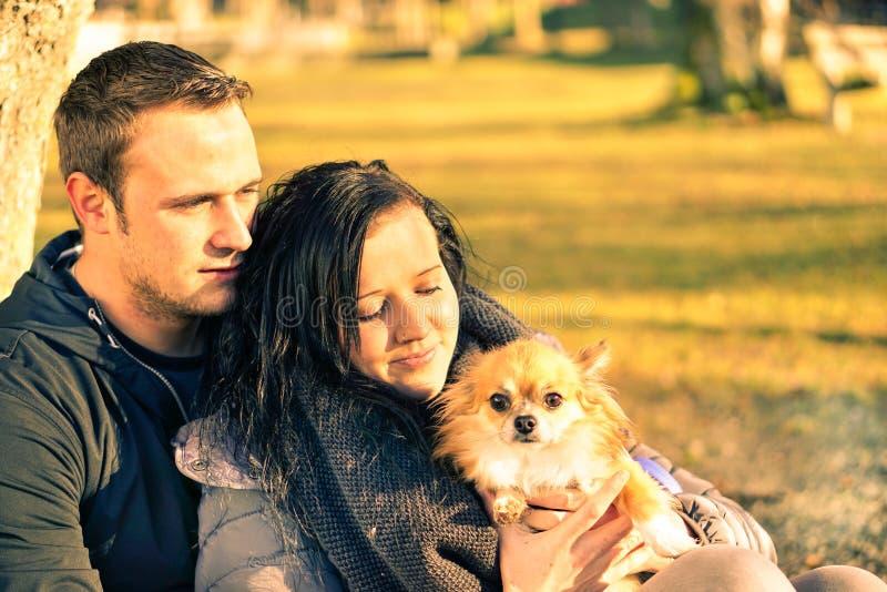 Couples dans l'amour ayant l'amusement avec leur chien au parc - les jeunes photos stock