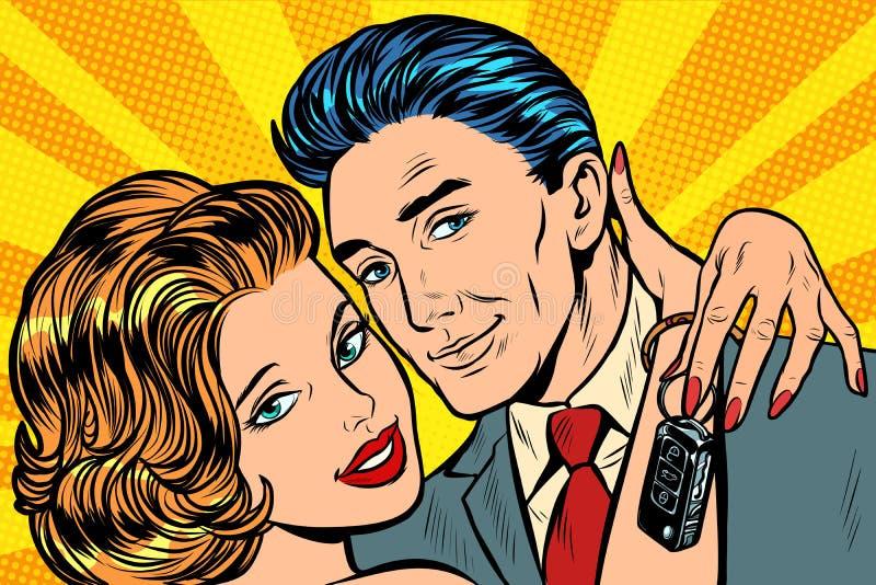 Couples dans l'amour, cadeau de clés de voiture illustration libre de droits