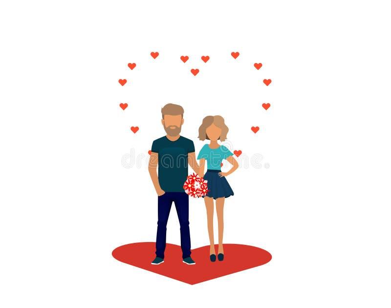 Couples dans l'amour Caractères pour le festin du saint Valentine D'isolement sur le fond blanc Illustration de vecteur illustration stock