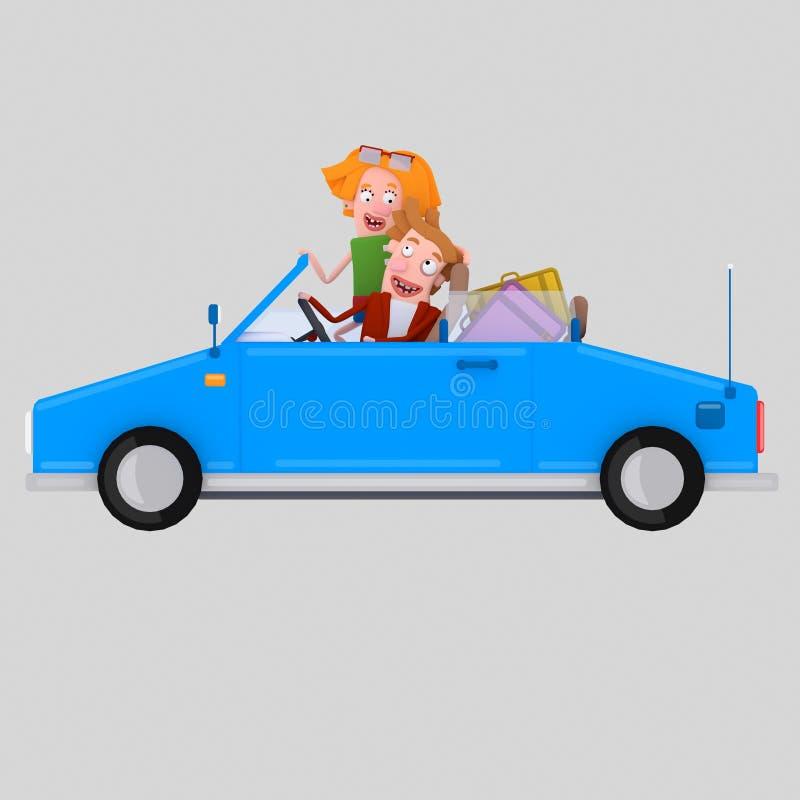 Couples dans l'amour conduisant la voiture bleue convertible 3d illustration libre de droits