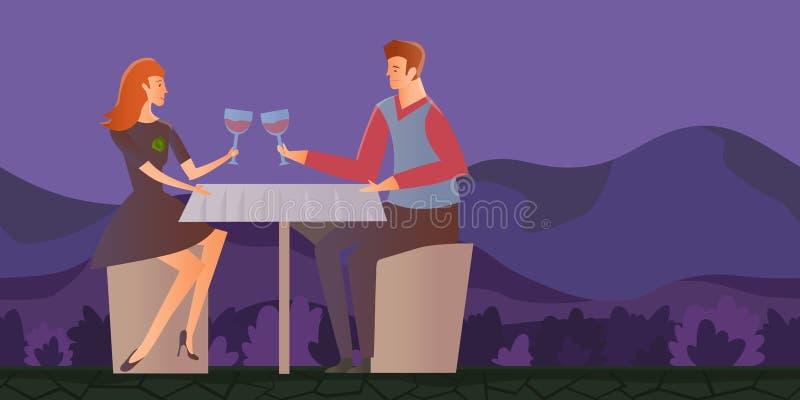 Couples dans l'amour, dîner romantique extérieur Le jeune homme et la femme une date en montagne aménagent en parc Illustration d illustration libre de droits