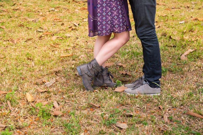 Couples dans l'amour en parc dans la chute photos stock
