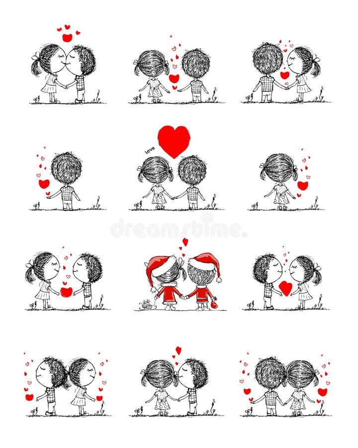 Couples dans l'amour ensemble, croquis de valentine pour le votre illustration stock