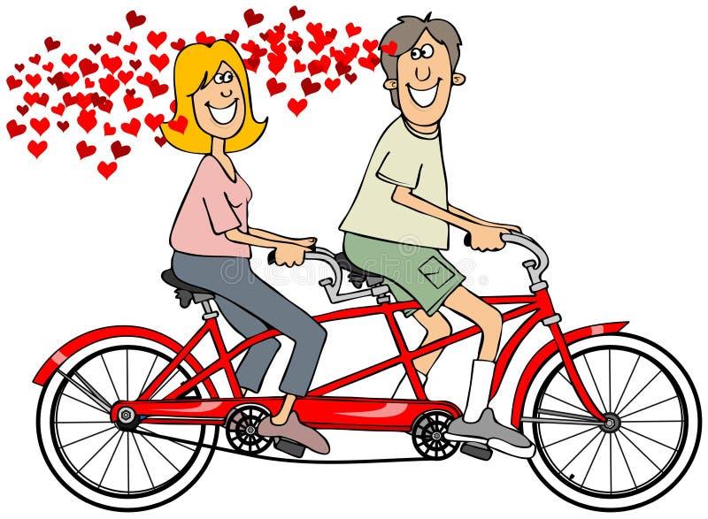 Couples dans l'amour montant un vélo illustration de vecteur
