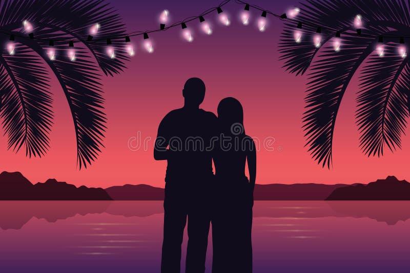 Couples dans l'amour sur le paradis pourpre Palm Beach avec les quirlandes électriques illustration stock