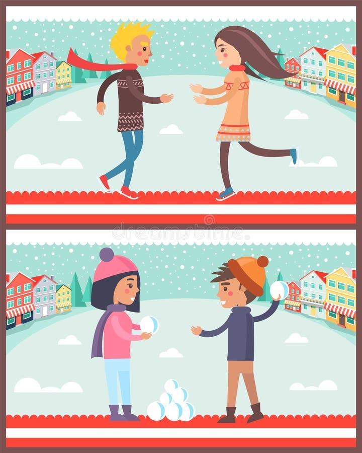 Couples dans l'illustration de vecteur d'affiches de ville d'hiver illustration de vecteur