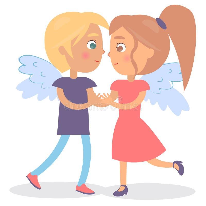 Couples dans l'illustration de vecteur de jour de valentines d'amour illustration stock