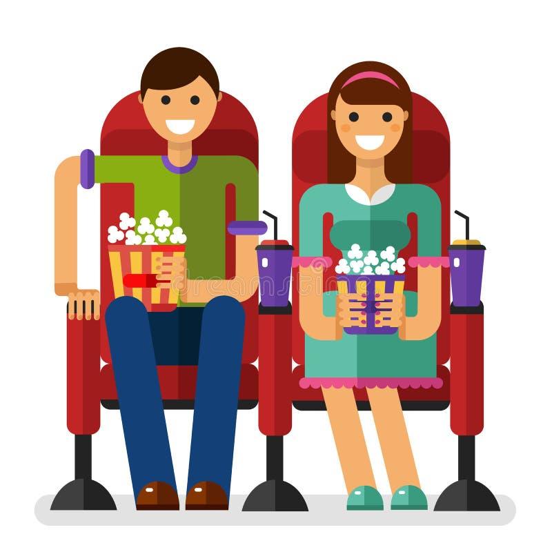 Couples dans le cinéma illustration de vecteur