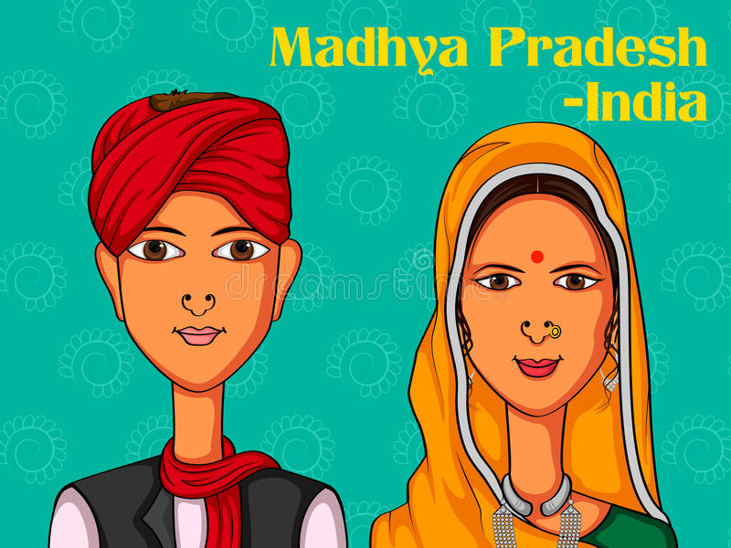 Couples dans le costume traditionnel de Madhya Pradesh, Inde illustration libre de droits