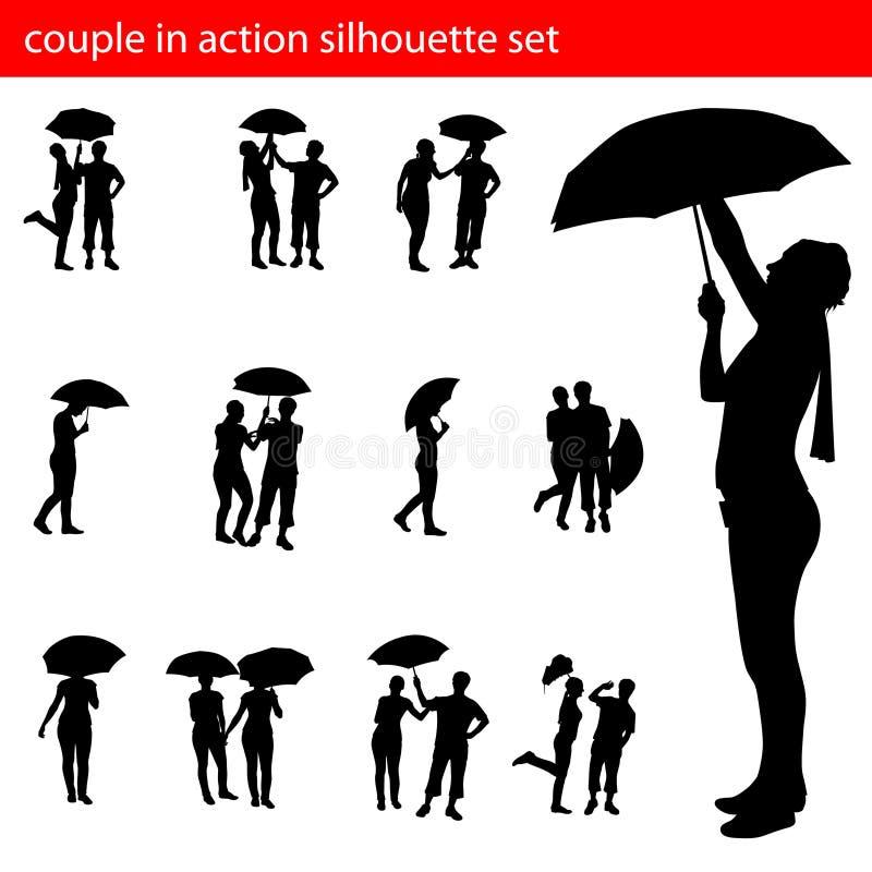 Couples dans le positionnement de silhouette d'action illustration de vecteur