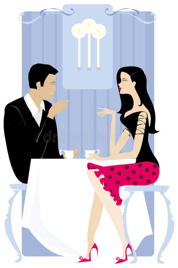Couples dans le restaurant illustration libre de droits