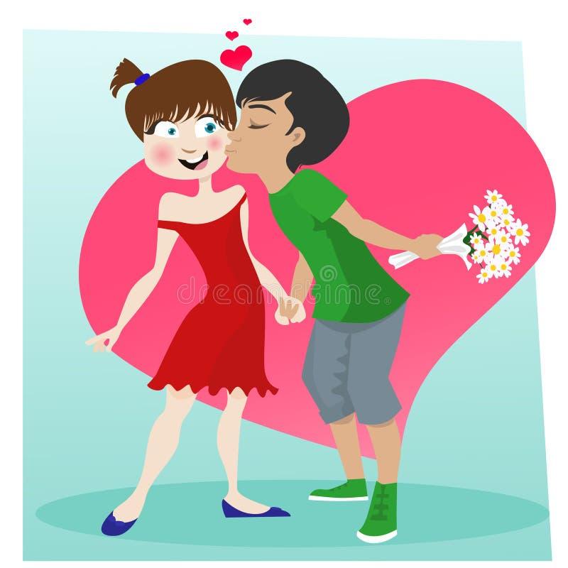 Couples de baiser mignons illustration de vecteur