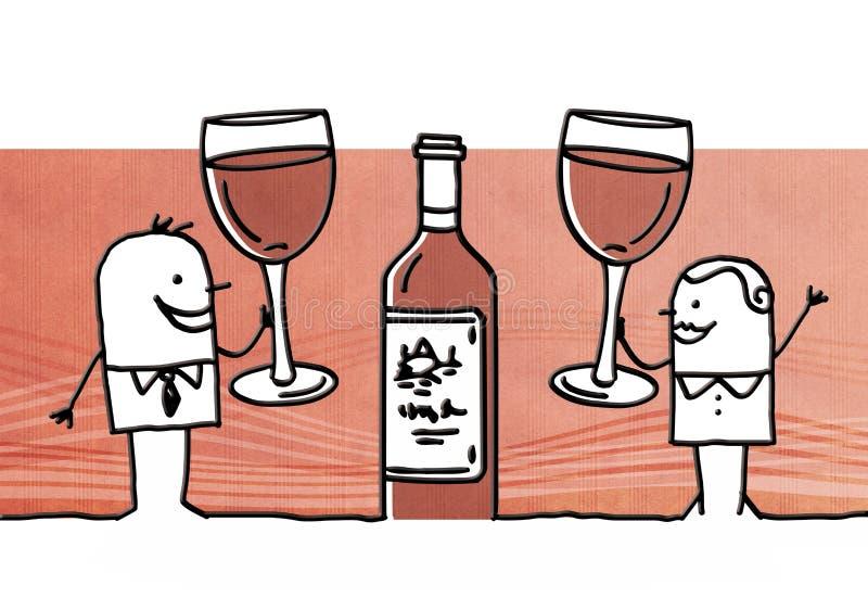 Couples de bande dessinée buvant du vin rouge illustration de vecteur